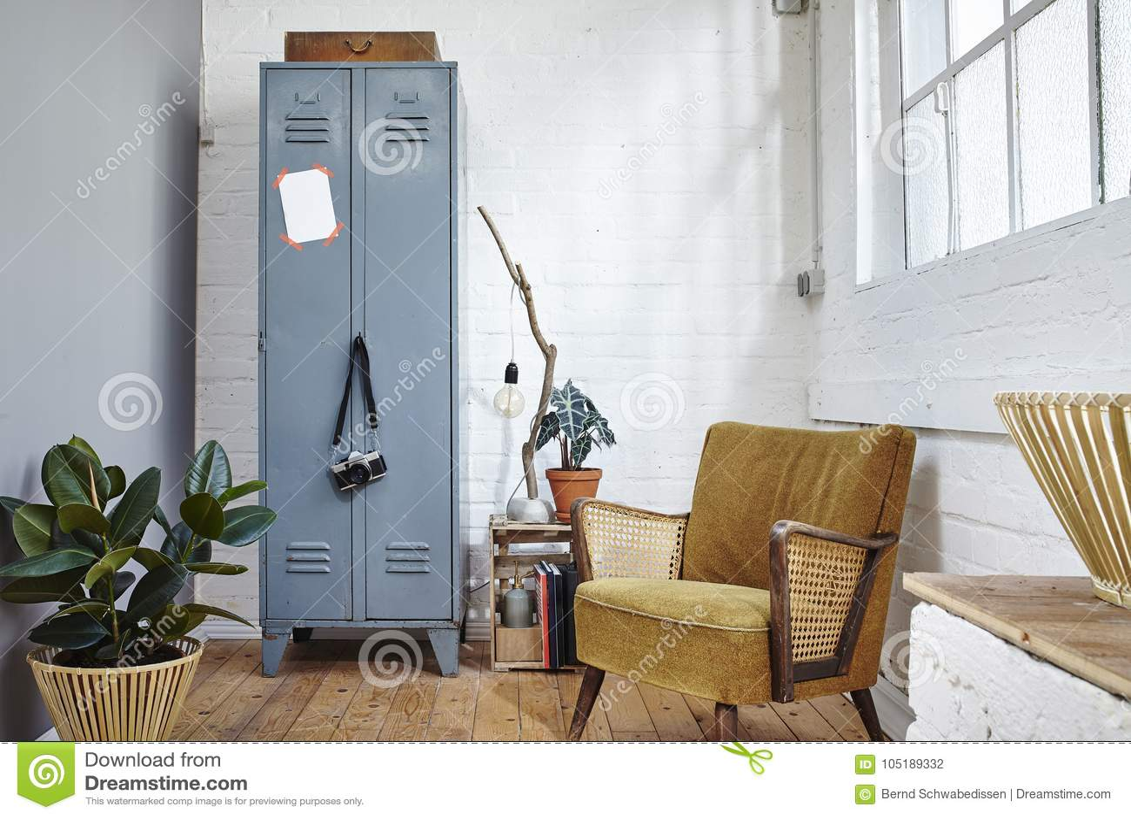 Green Urban Living Room In Industrial Loft Vintage Furniture Modern  Interior Design