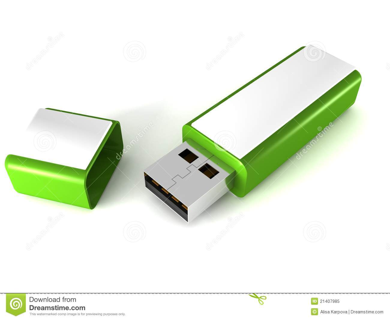 Green Usb Flash Drive Memory Stick Royalty Free Stock