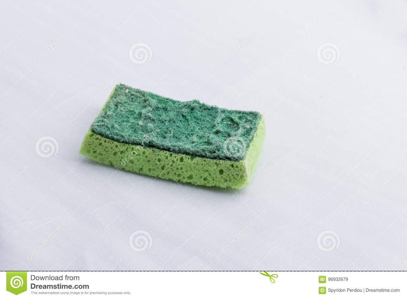 A Green Used Kitchen Sponge, With A Hard And A Soft Surface Stock ...
