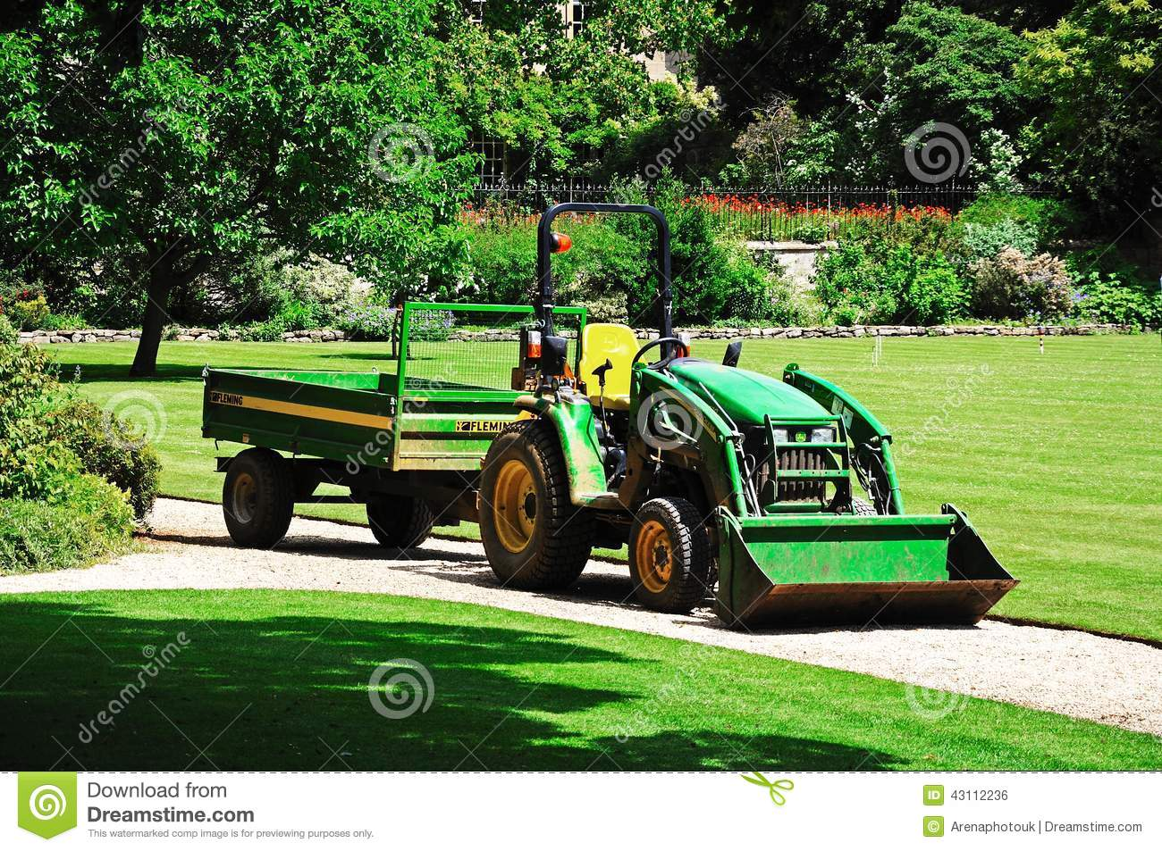 Up The Tractor Green Tractor With Bucket Cartoon : Green tractor hedge cutting and digger clearing a ditch