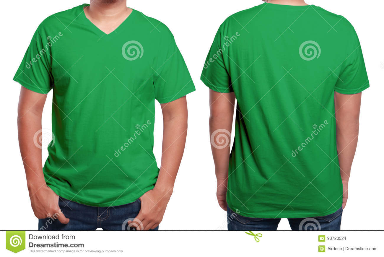 Green T Shirt Mock Up Front And Back View Isolated Male Model Wear Plain Mockup V Neck Design Template Blank Tees For Print