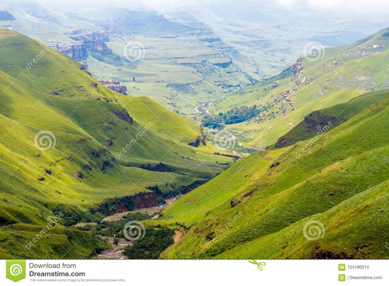 Green valley in Lesotho