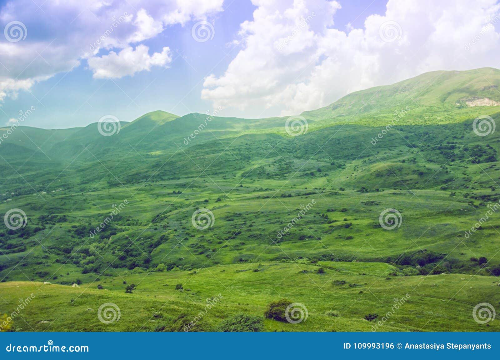 Green Valley. Mountainous terrain, open space landscape. Armenia