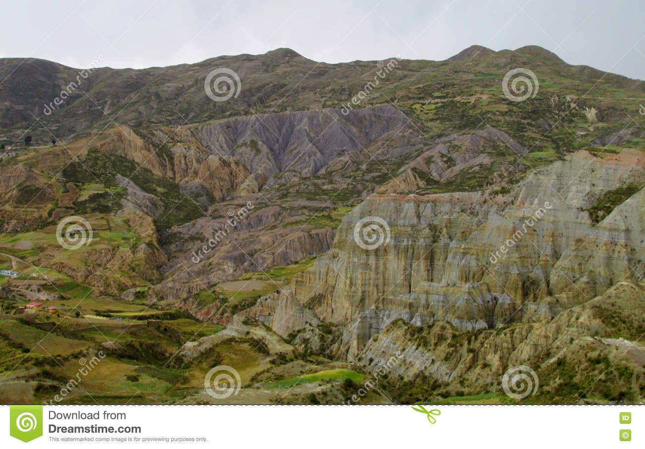 Green valley and rock formations near La Paz in Bolivia