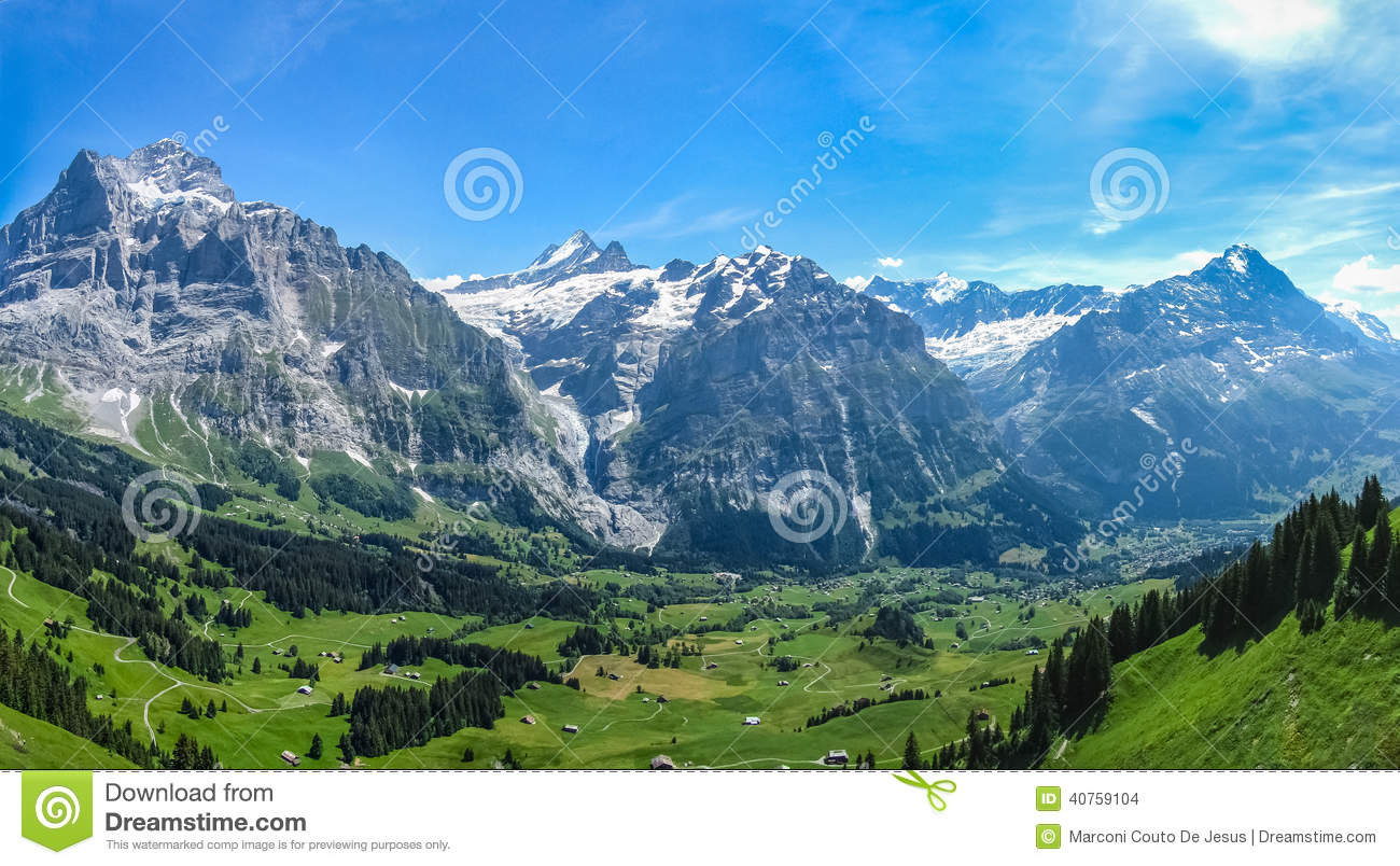 Green valley in the Swiss Alps