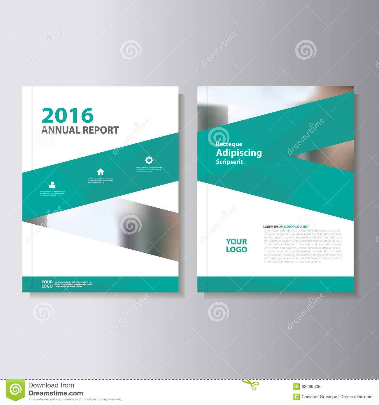 Annual Report Book Cover Design ~ Green vector annual report leaflet brochure flyer template