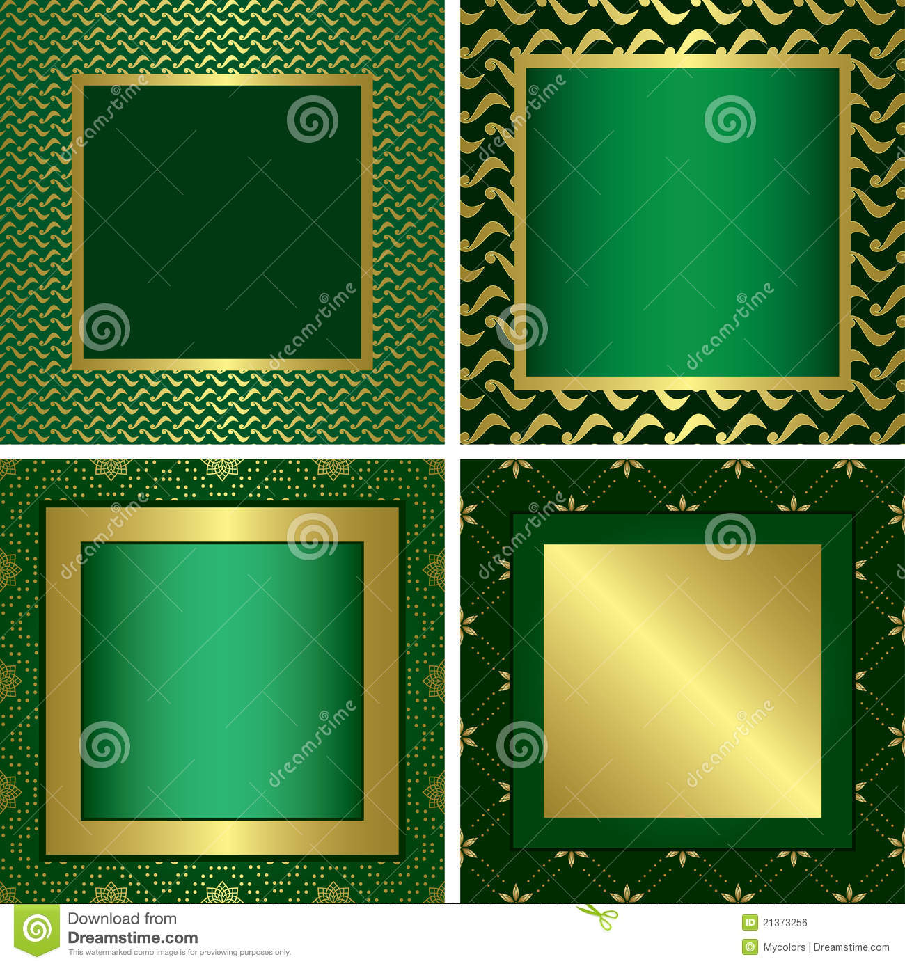 green vector golden decorative frames