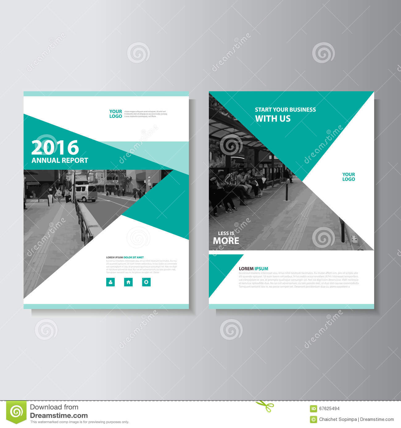 Annual Report Book Cover Design ~ Green vector magazine annual report leaflet brochure flyer