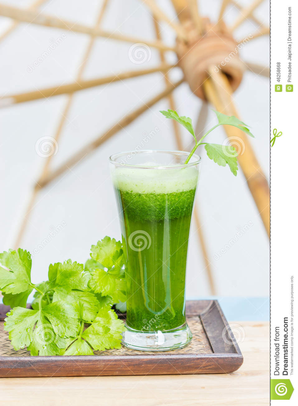 Green Vegetable Juice With Fresh Celery Stock Photography