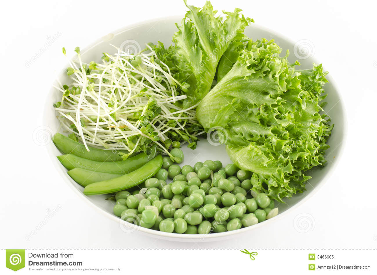 Green vegetable on white dish isolated on white background for Cuisine on the green