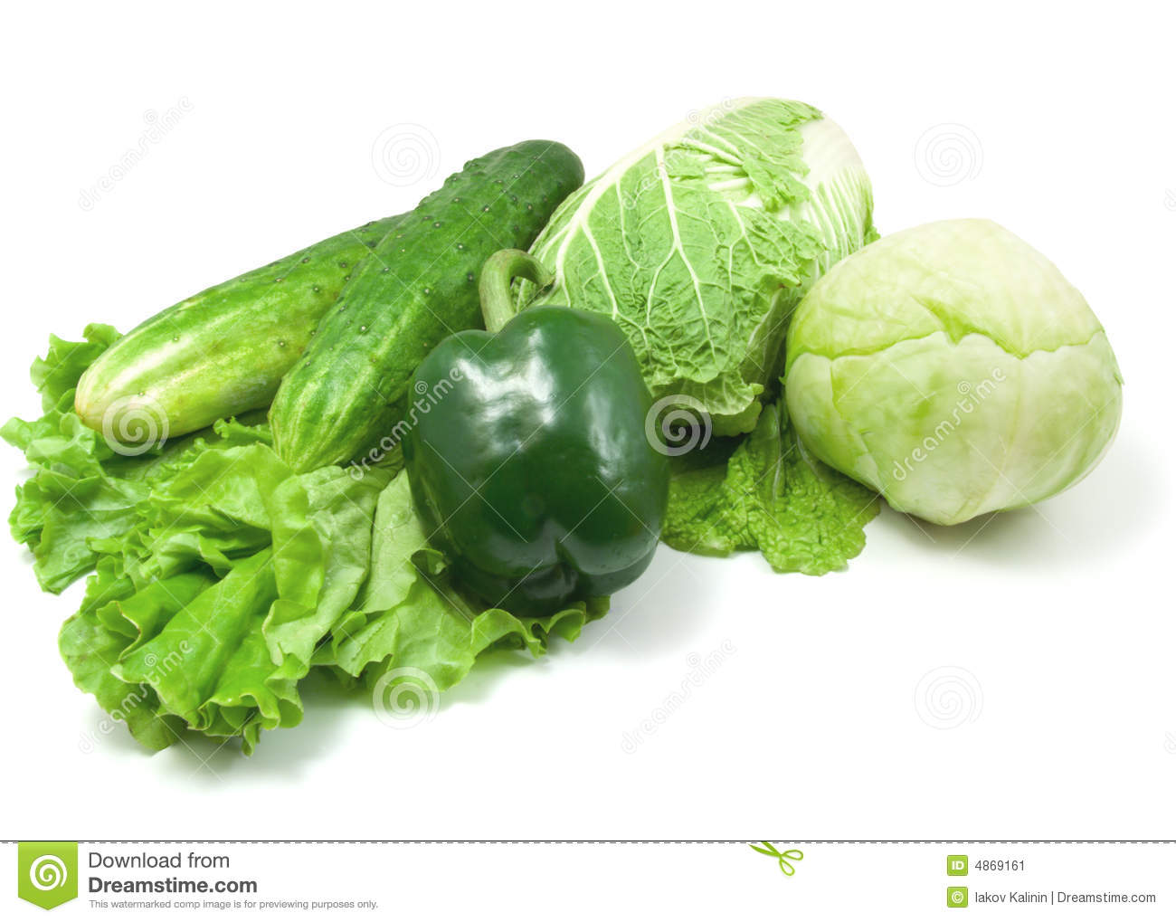 Green vegetables isolated on white background.
