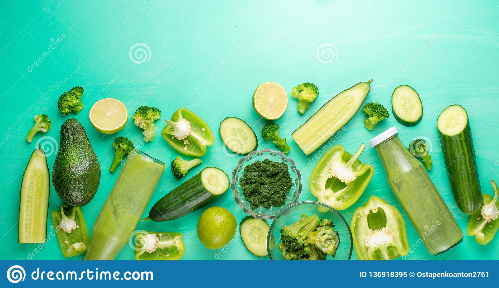 Green vegetables. For cooking healthy and wholesome food. Healthy green vegan cooking ingredients. Banner for design. Top view,