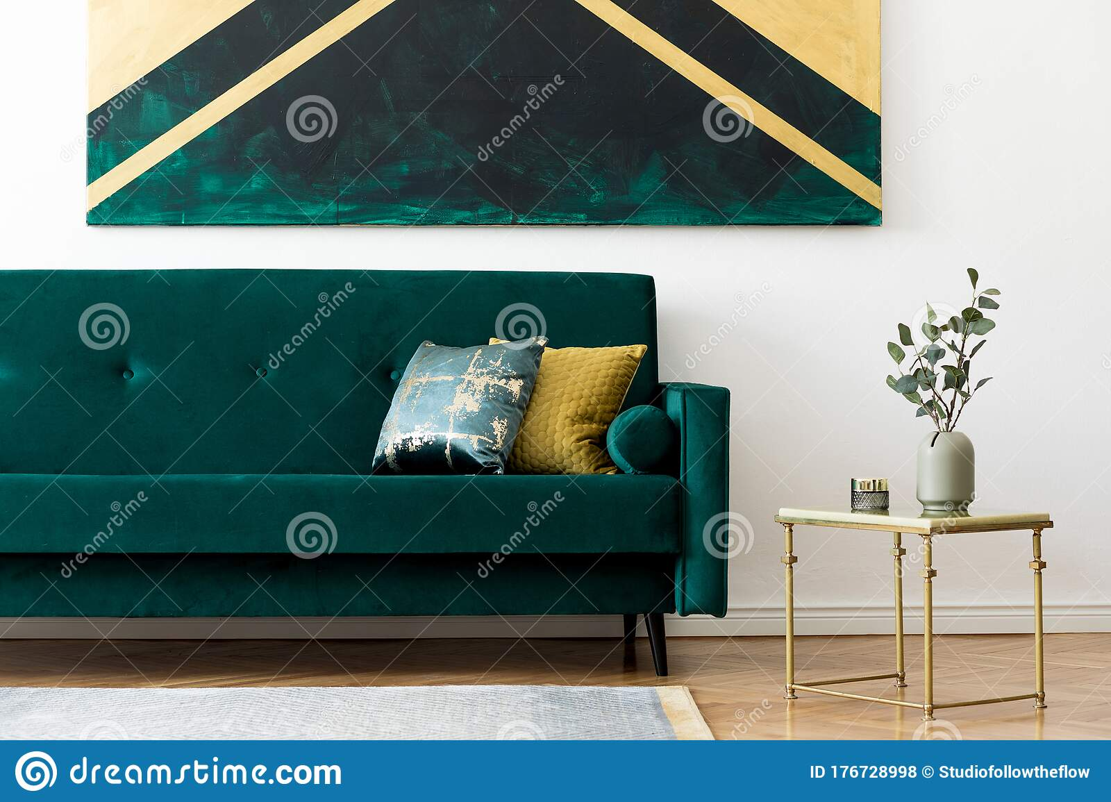 Picture of: Green Velvet Sofa In Stylish And Luxury Living Room Stock Photo Image Of Interior Parquet 176728998