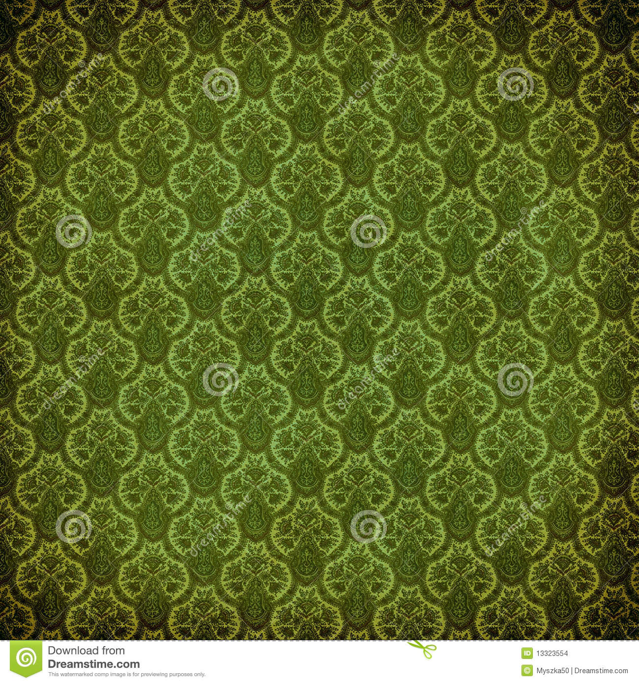 Green victorian damask stock illustration. Image of dirty ...