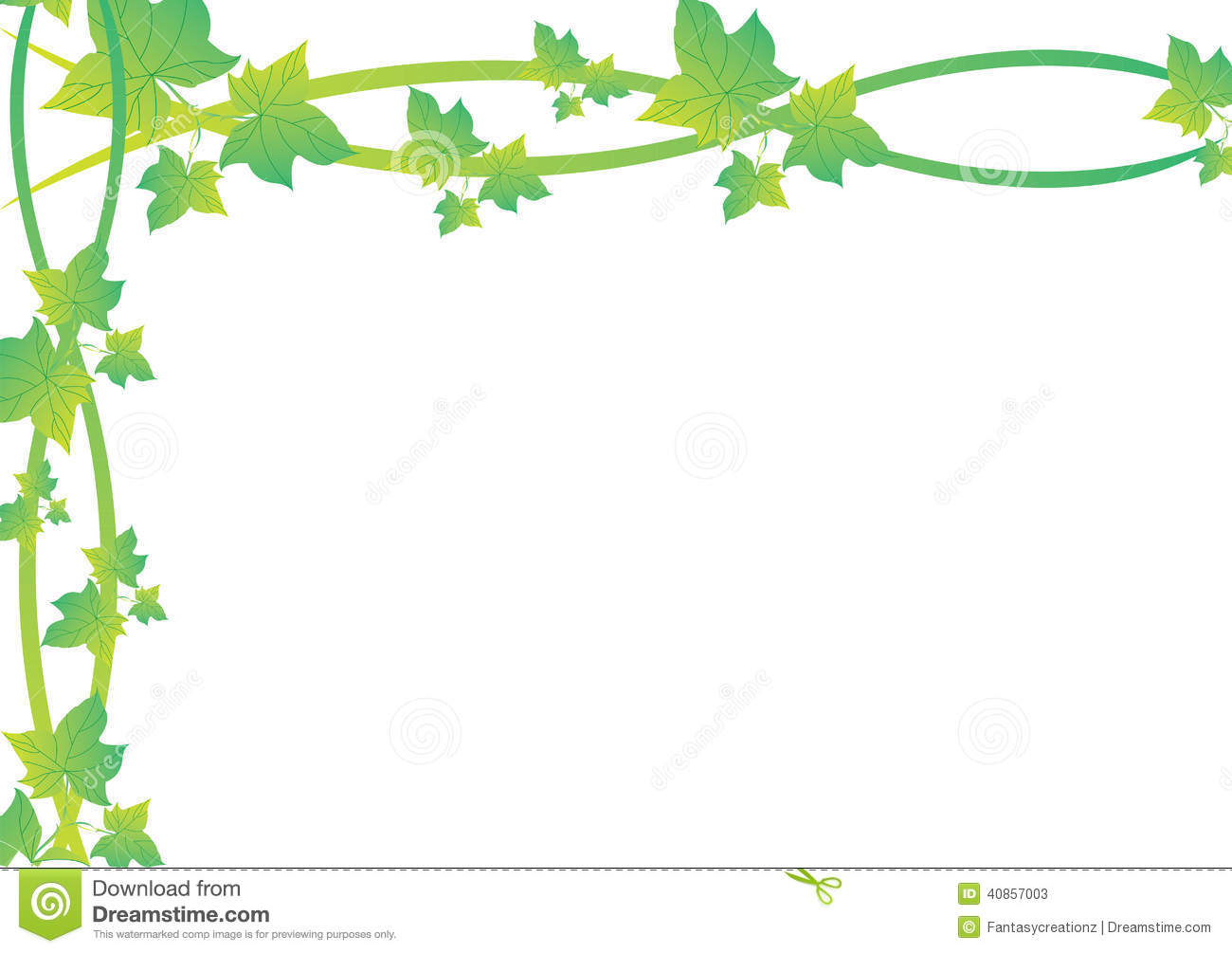 An illustration featuring a frame border of green vine leaves. Flower Vine Clipart