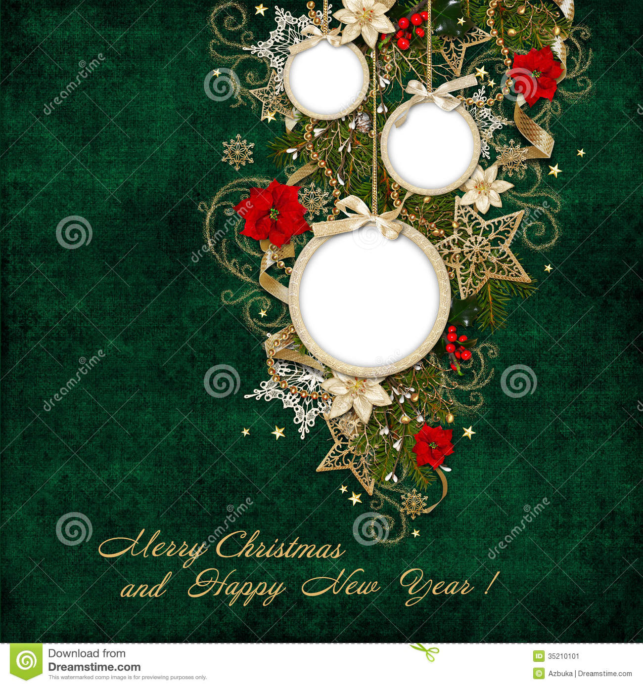 Green Vintage Background With Frame And Beautiful Christmas