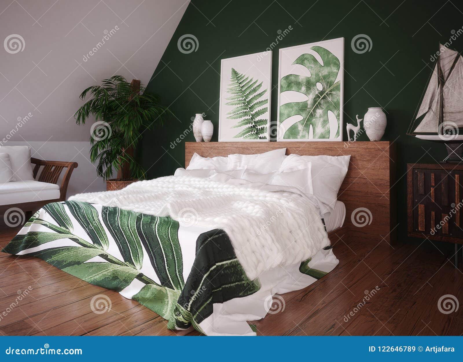 Green Vintage Bedroom Interior Stock Illustration ...