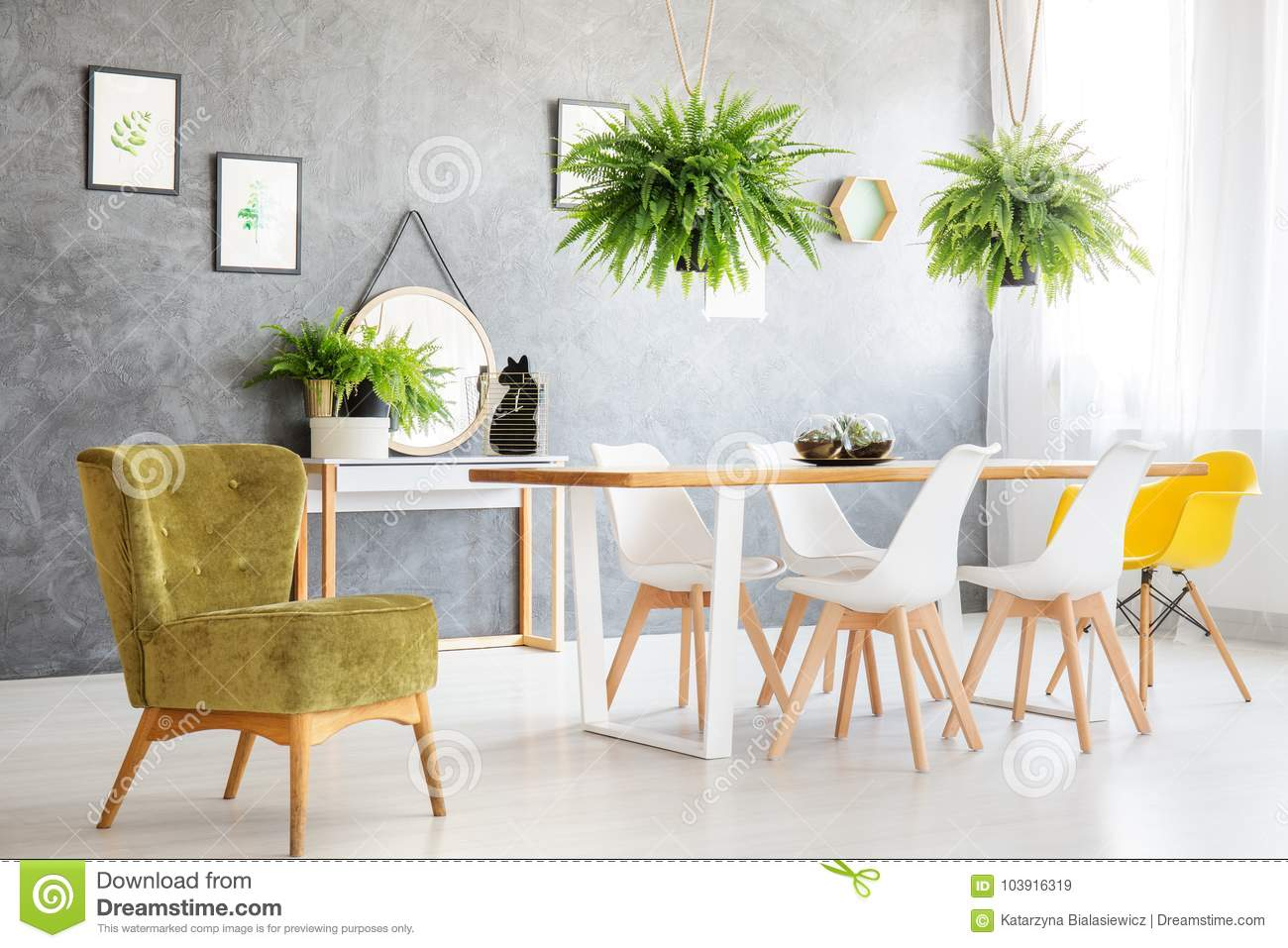 Green Vintage Chair In Room Stock Image - Image of dining ...