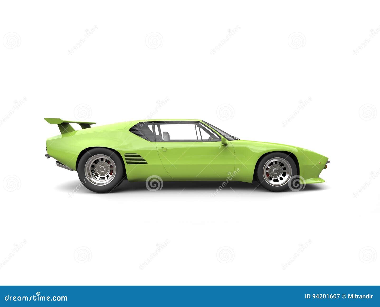 Race Car Side View Green Vintage Concept ...