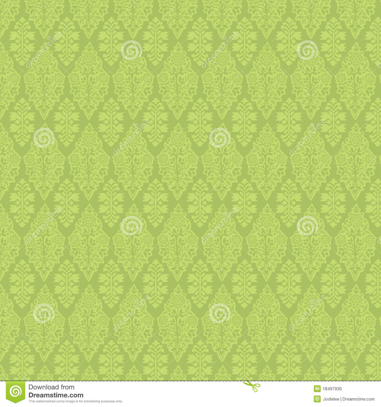 Green vintage damask seamless wallpaper stock illustration - Papel paredes vintage ...