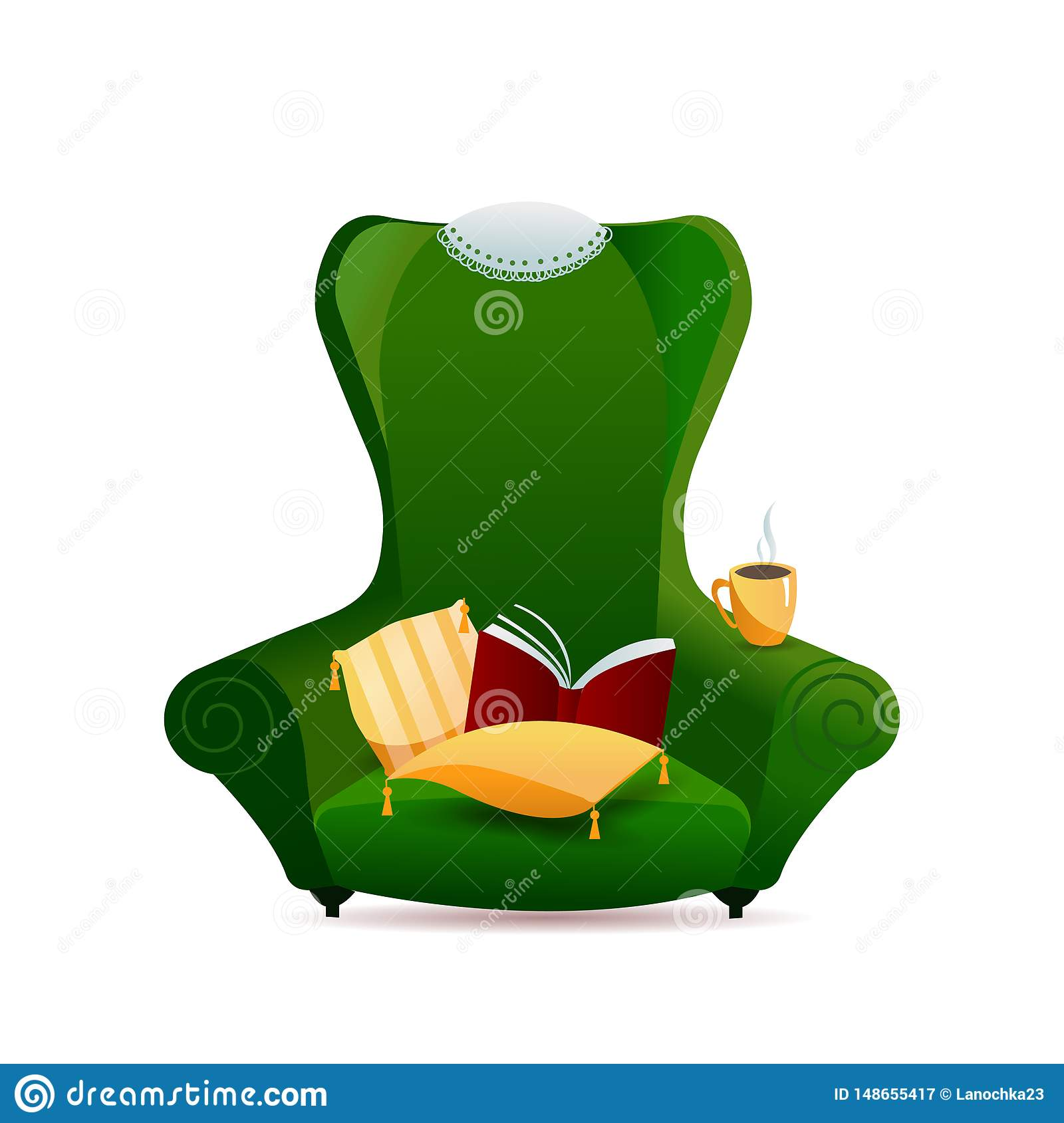 Green vintage sofa armchair with gold pillow with tassels and lace napkin on back of chair on white background. Gradient
