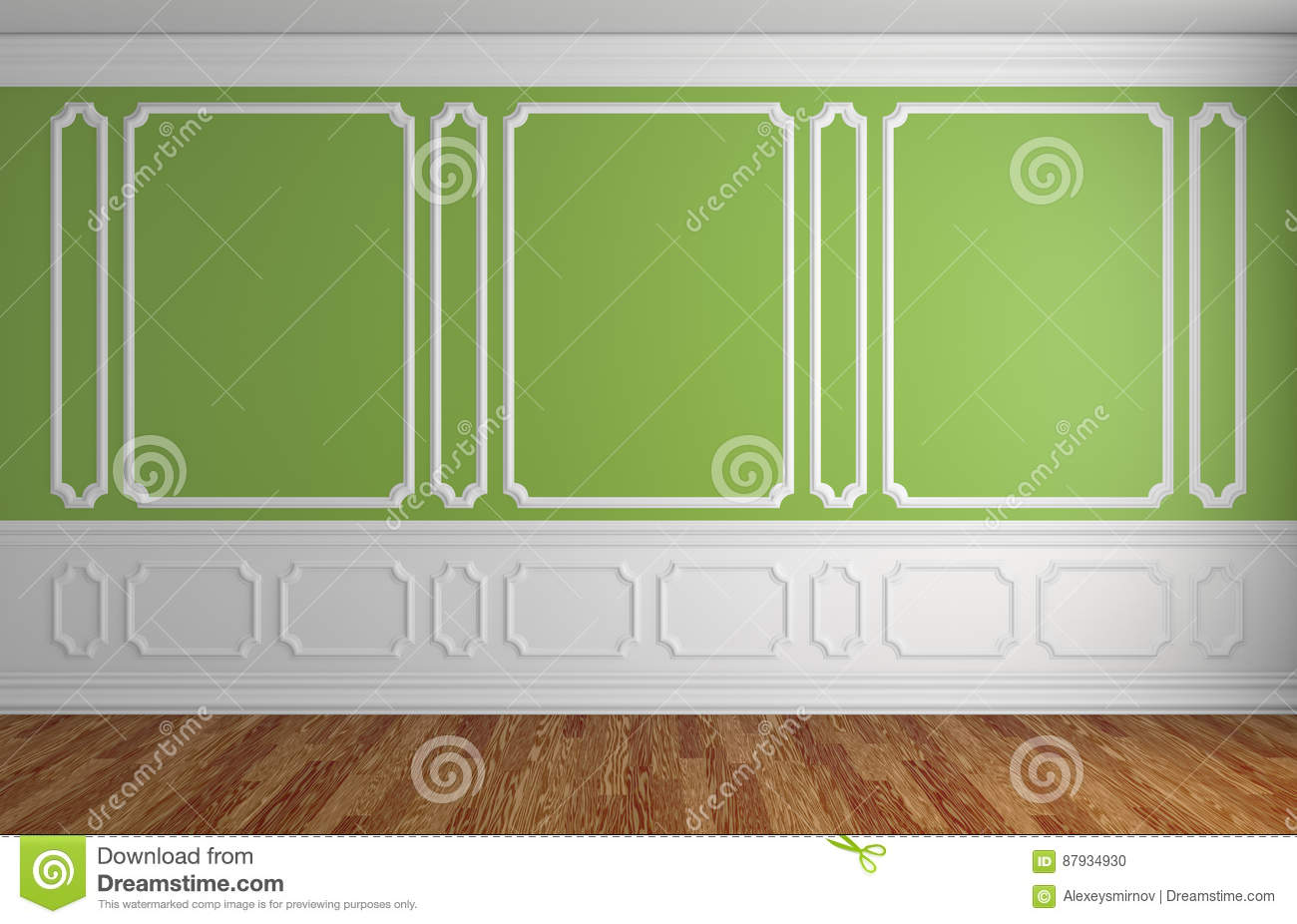 Green Wall In Classic Style Empty Room Architectural