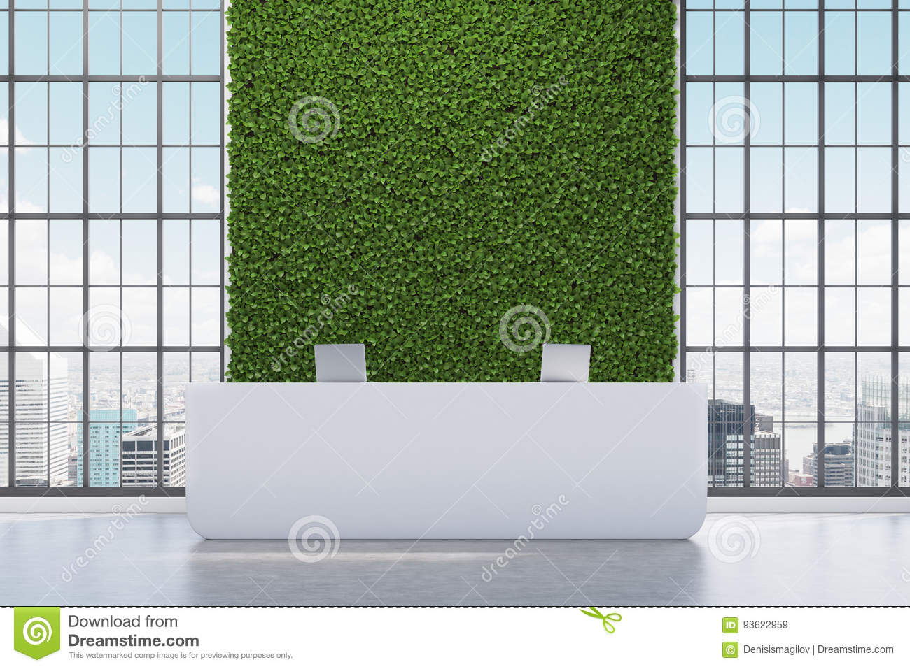 Download Green Wall Reception Counter Stock Illustration   Illustration Of  Corporate, Luxury: 93622959