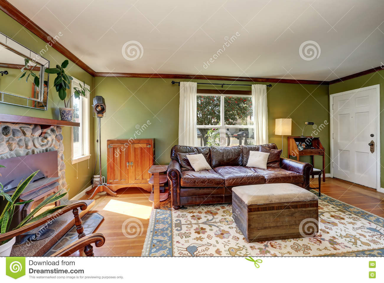 Royalty Free Stock Photo. Download Green Walls Living Room With Stone  Fireplace ... Part 96