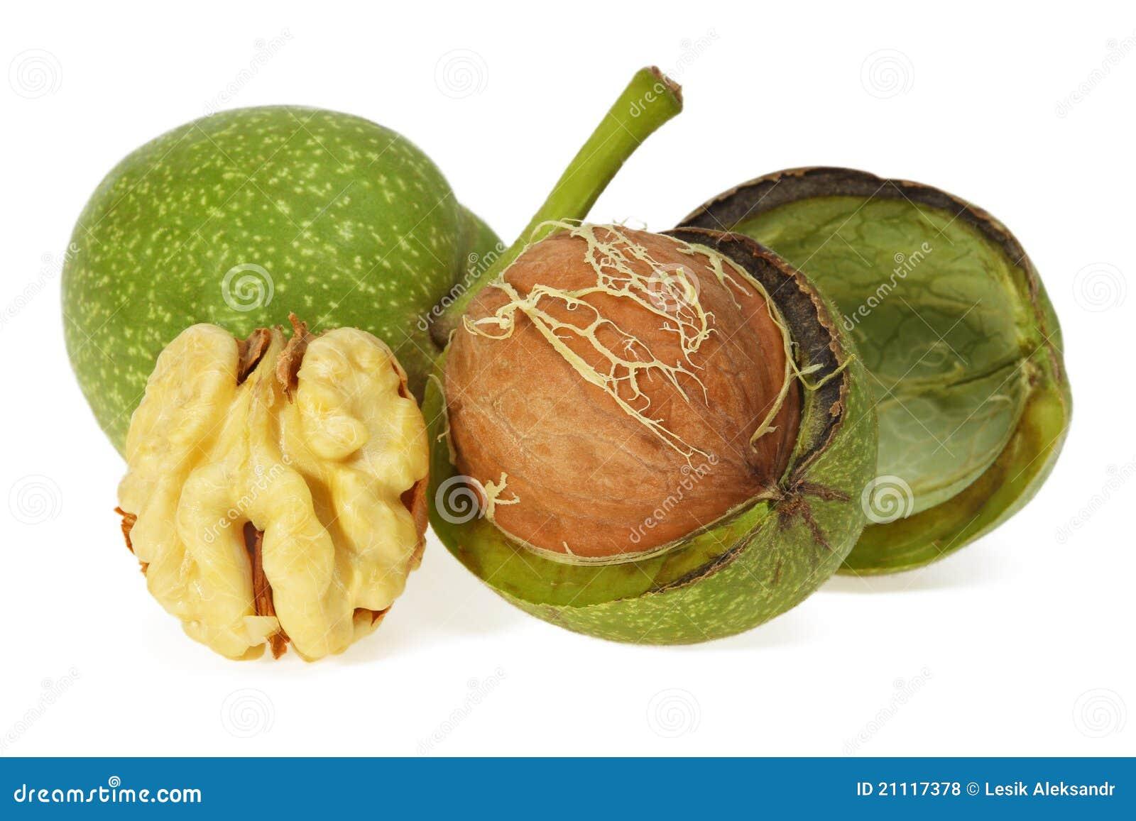Green walnut peeled and fresh kernel royalty free stock photos