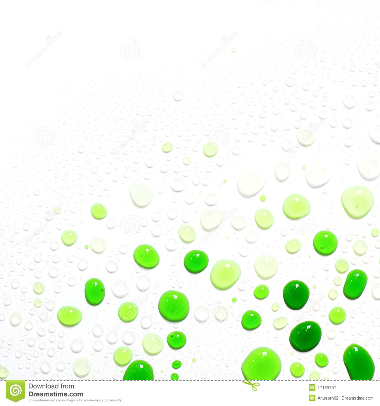 Green Water Drops On White Background Royalty Free Stock ...