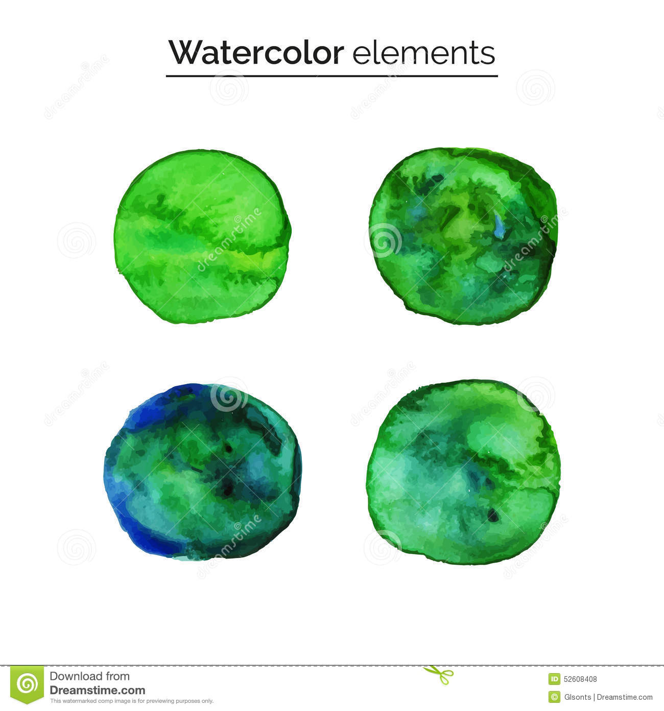 green watercolor design elements set isolated watercolor paint