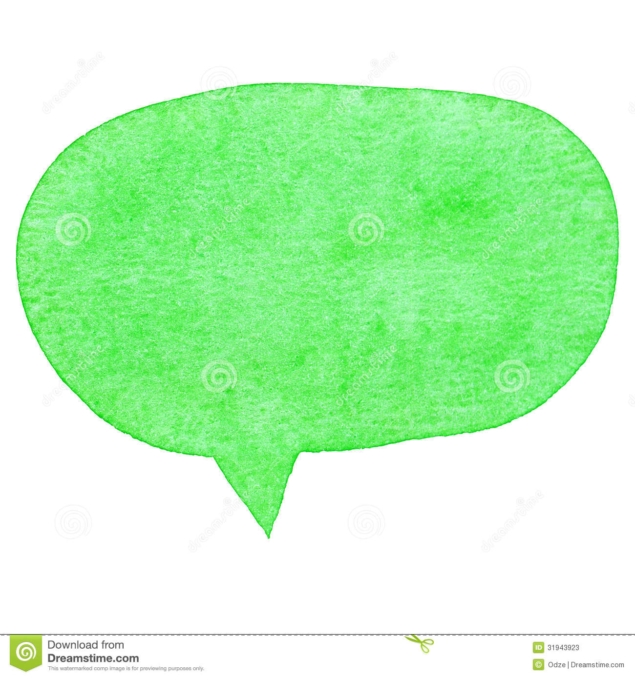 Green watercolor speech bubble isolated on white background.