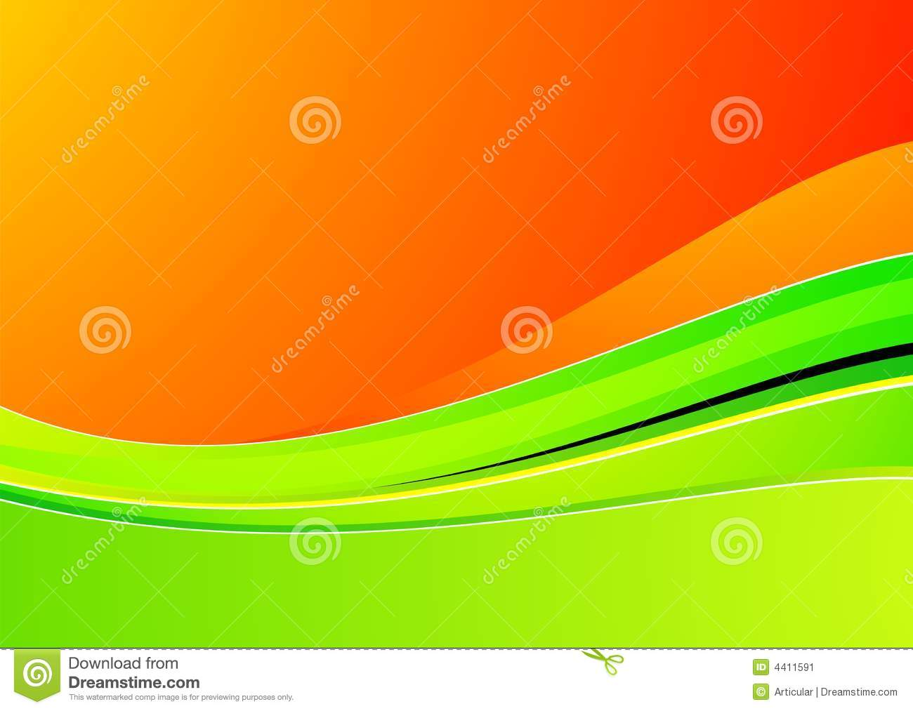 Green wave on orange background for design