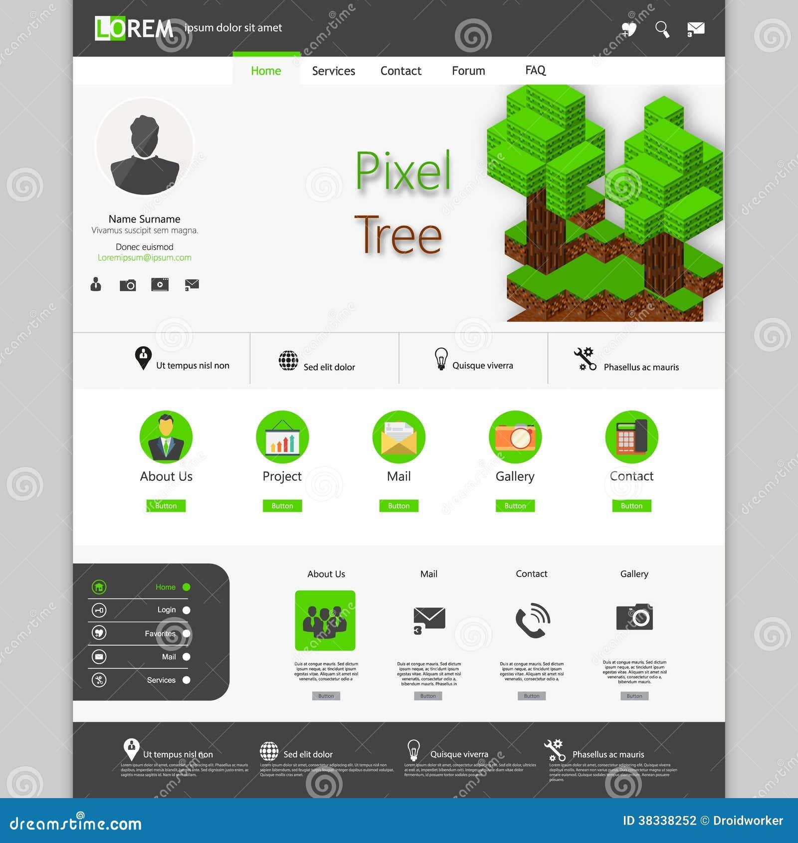 Pixel Art Template | Green Website Template With 3d Pixel Art Tree Stock Vector