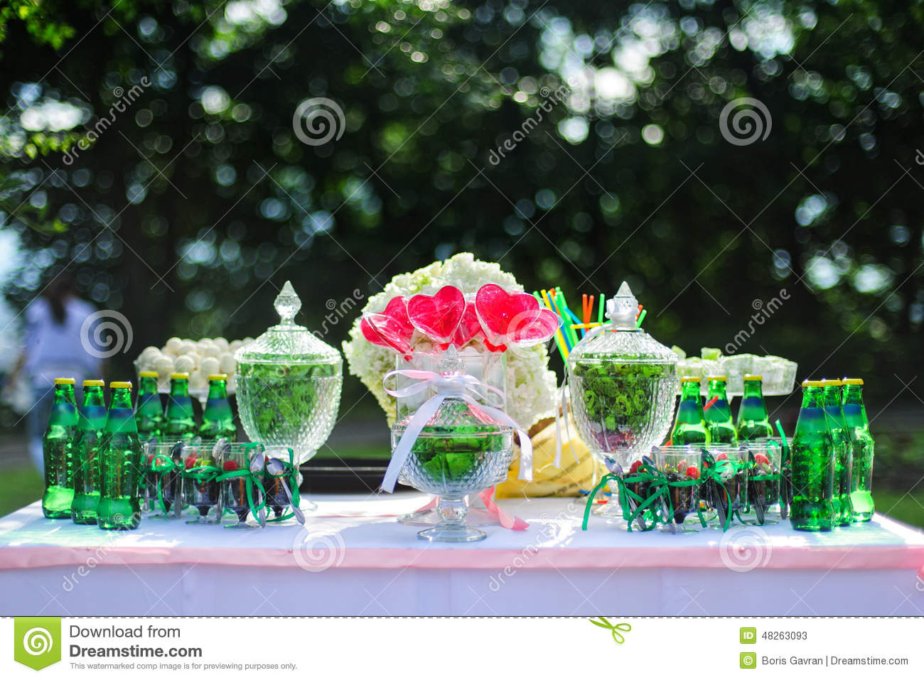 stock photo green wedding candy bar red hearts bottles drinks image wedding candy bar Green wedding candy bar