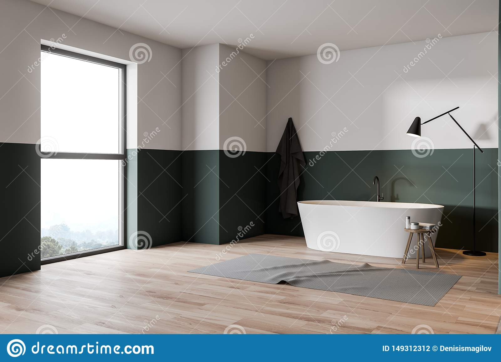 Green And White Bathroom Corner With Tub Stock Illustration Illustration Of Design Large 149312312