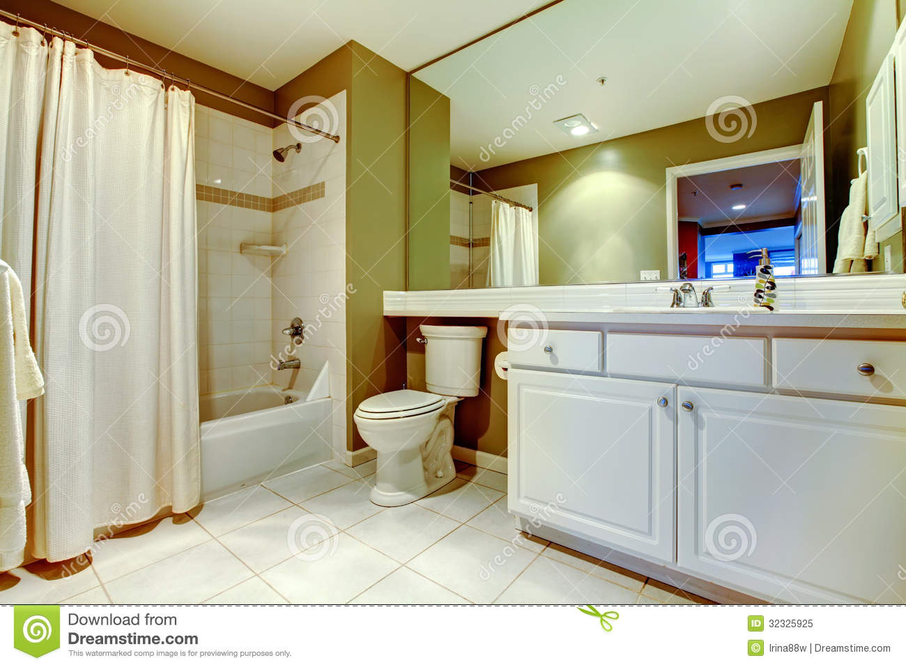 Green And White Bathroom With Sink Tub Curtain