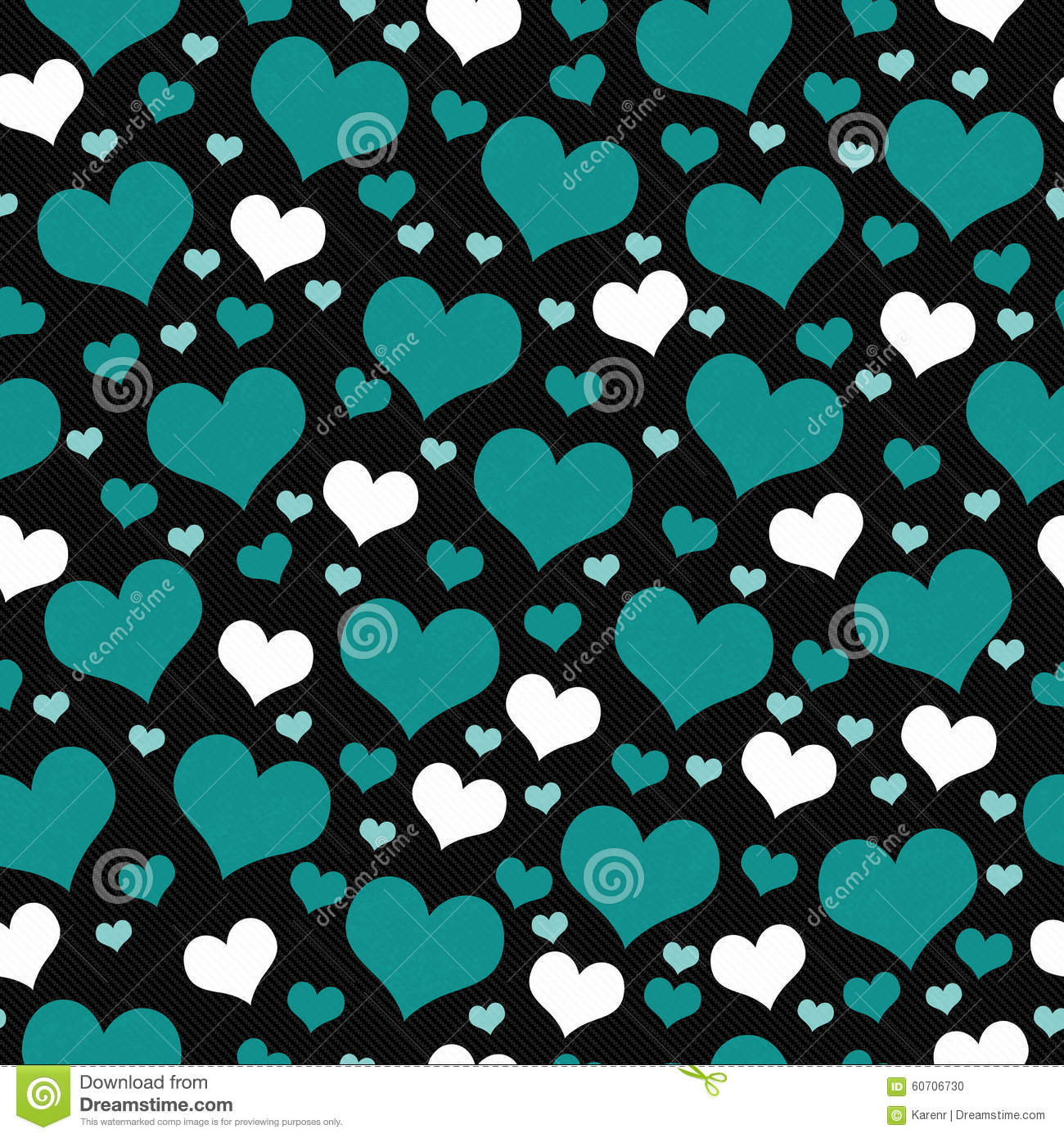 Green, White And Black Hearts Tile Pattern Repeat ...