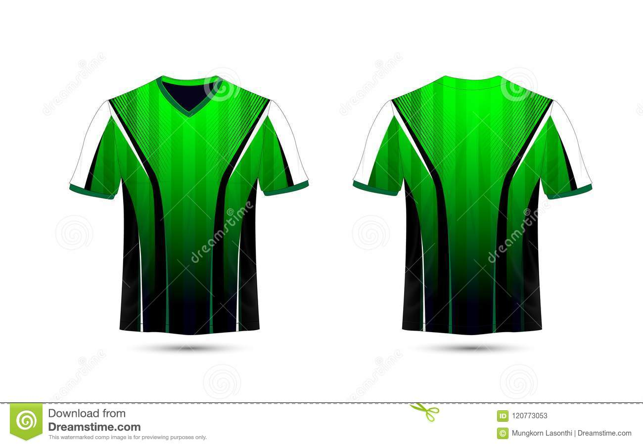 Green White And Black Layout E Sport T Shirt Design Template Stock