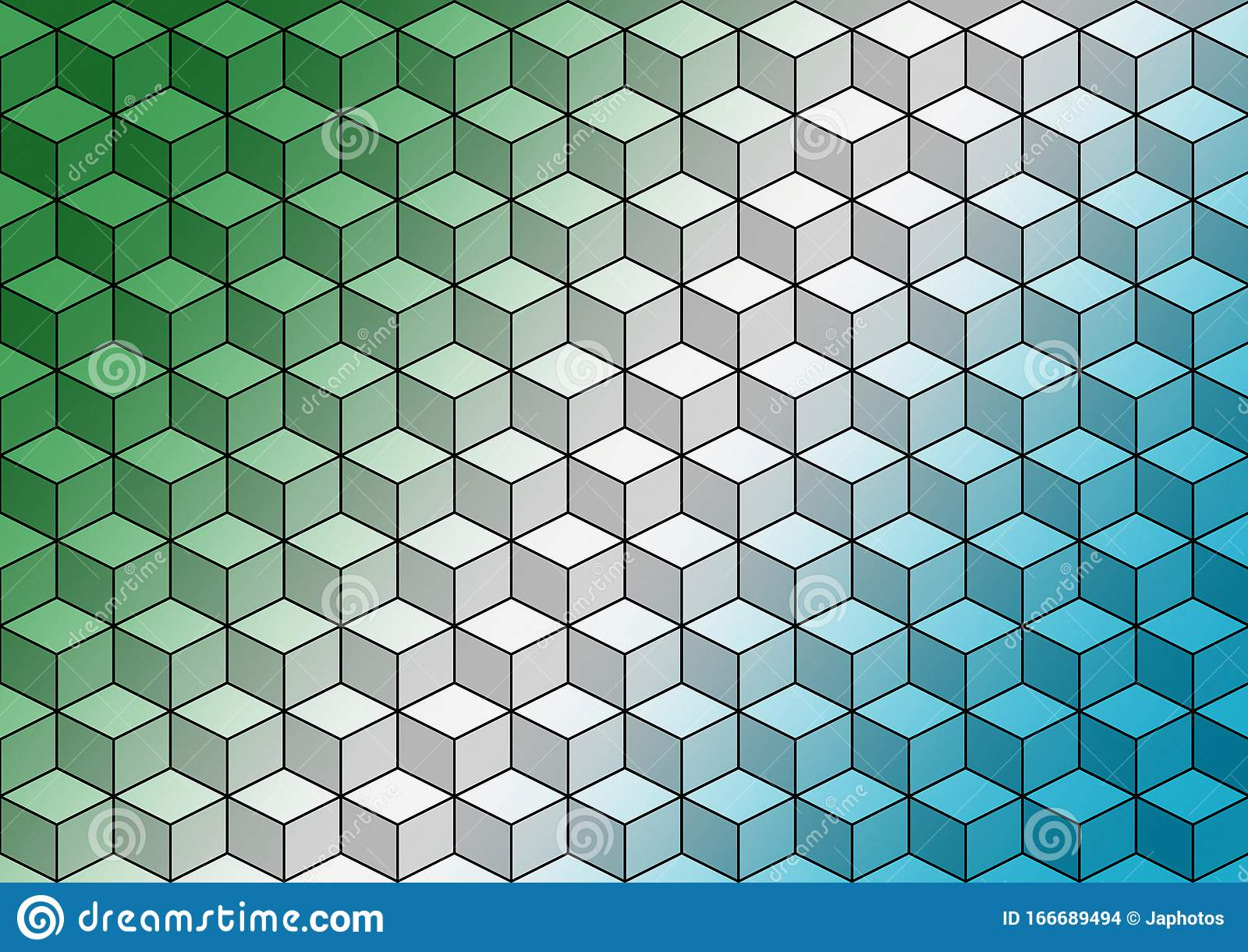 Green White Blue Geometric Cubes Colorful Abstract Wallpaper