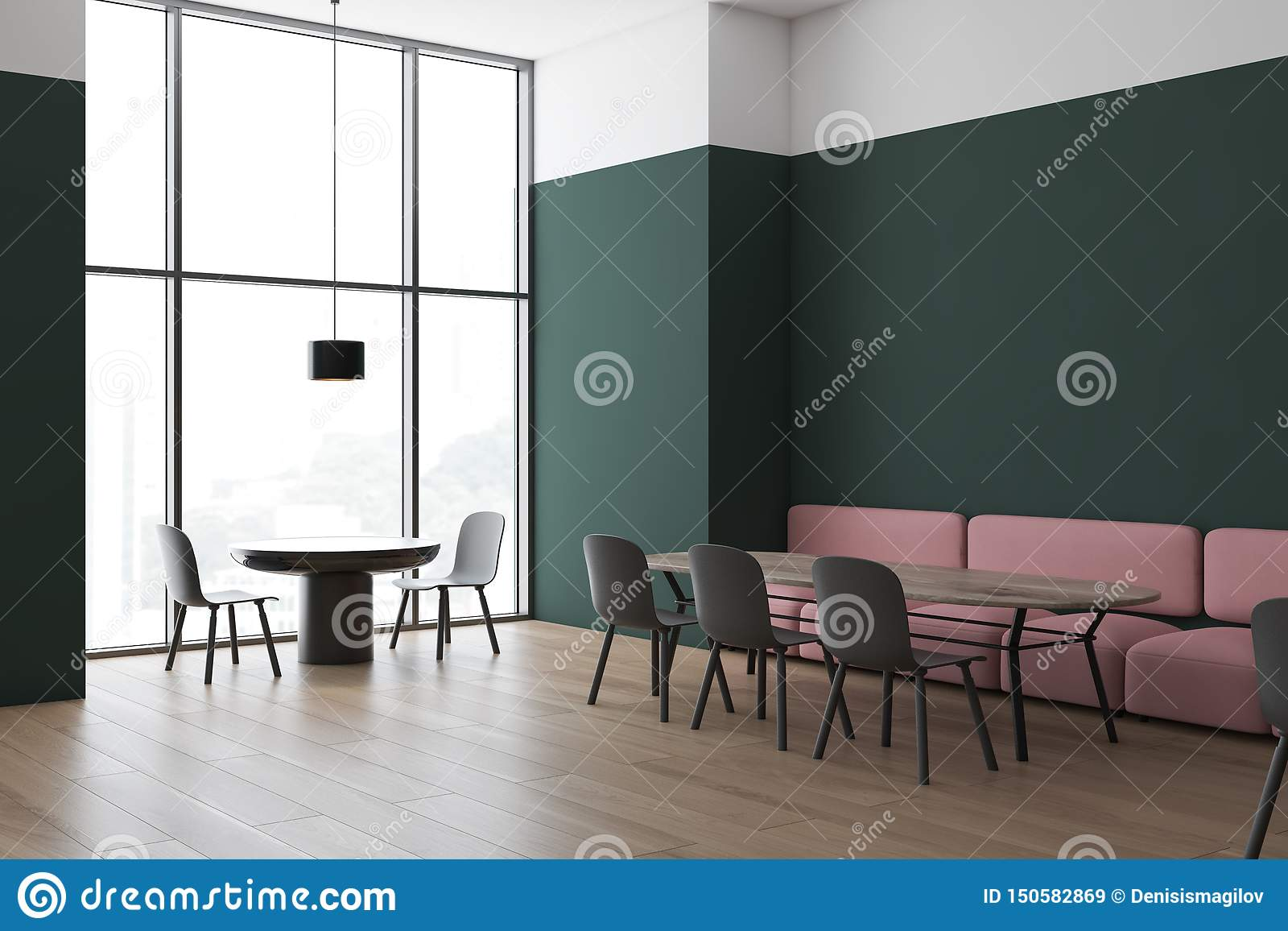 Green And White Cafe Corner With Sofa Stock Illustration Illustration Of Pink Floor 150582869