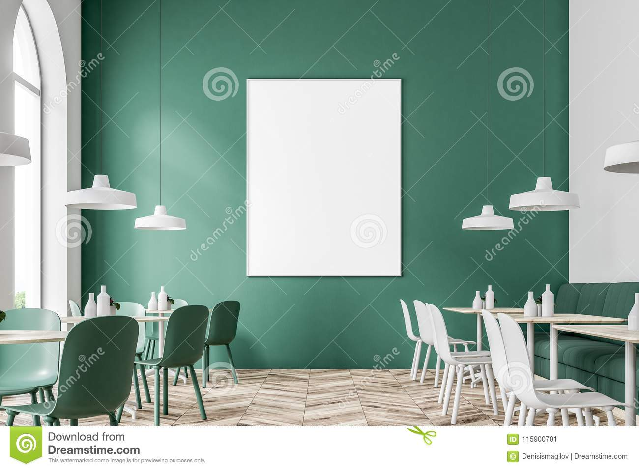 Green And White Cafe Interior Poster Stock Illustration Illustration Of Business House 115900701