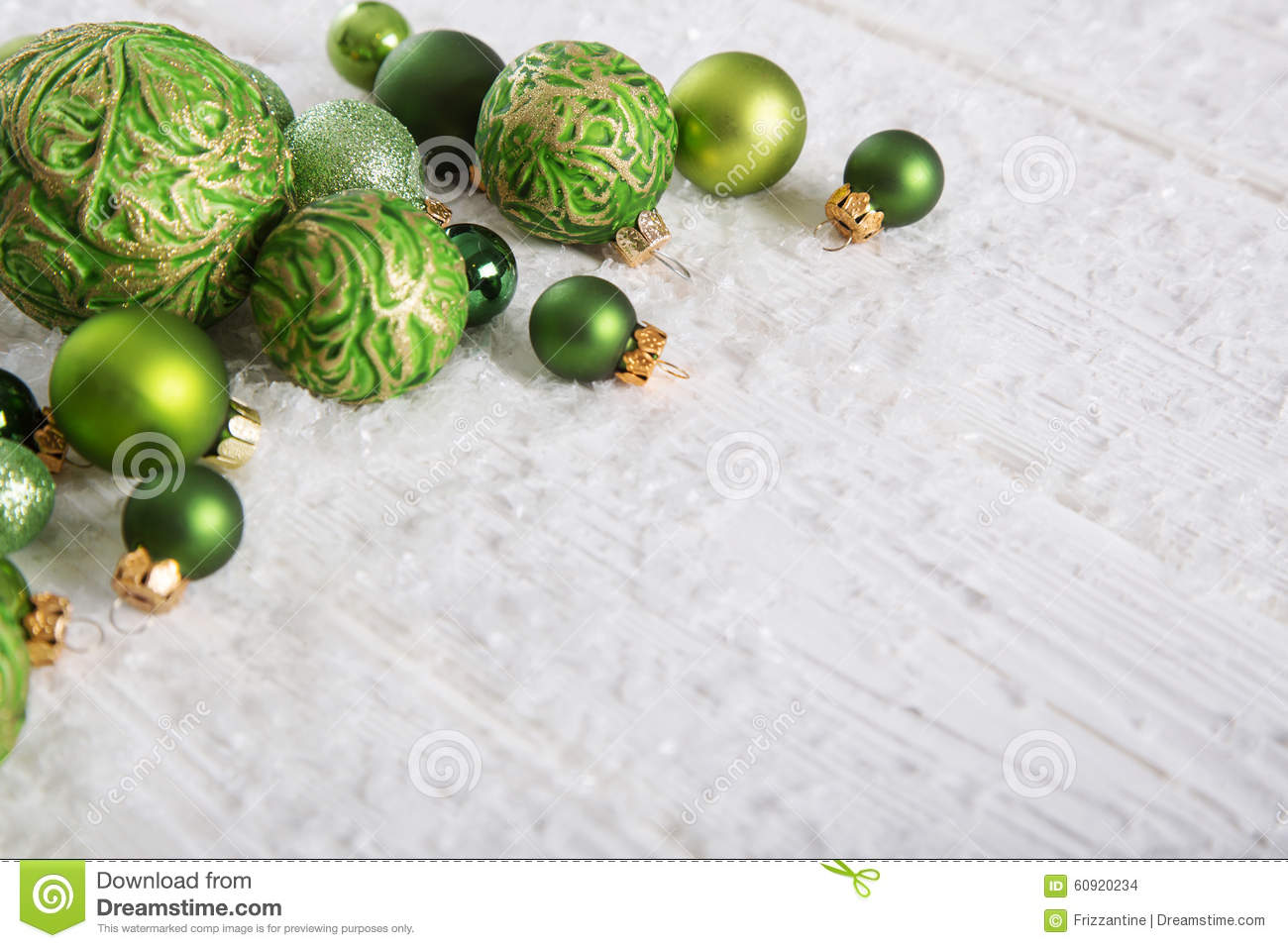 Green And White Christmas Background With Snow And Balls ...