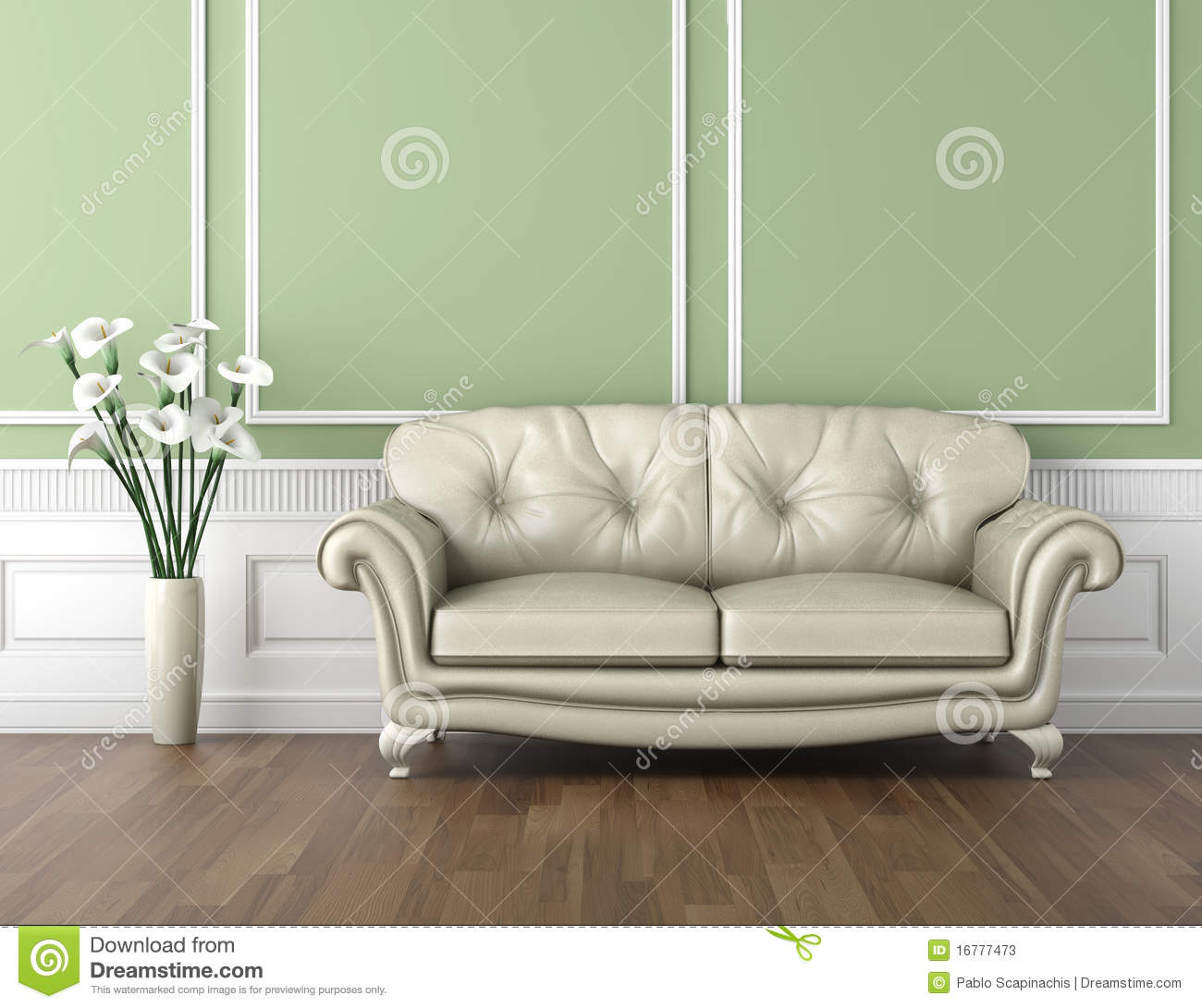 Classic Interior green and white classic interior stock photos - image: 16777473