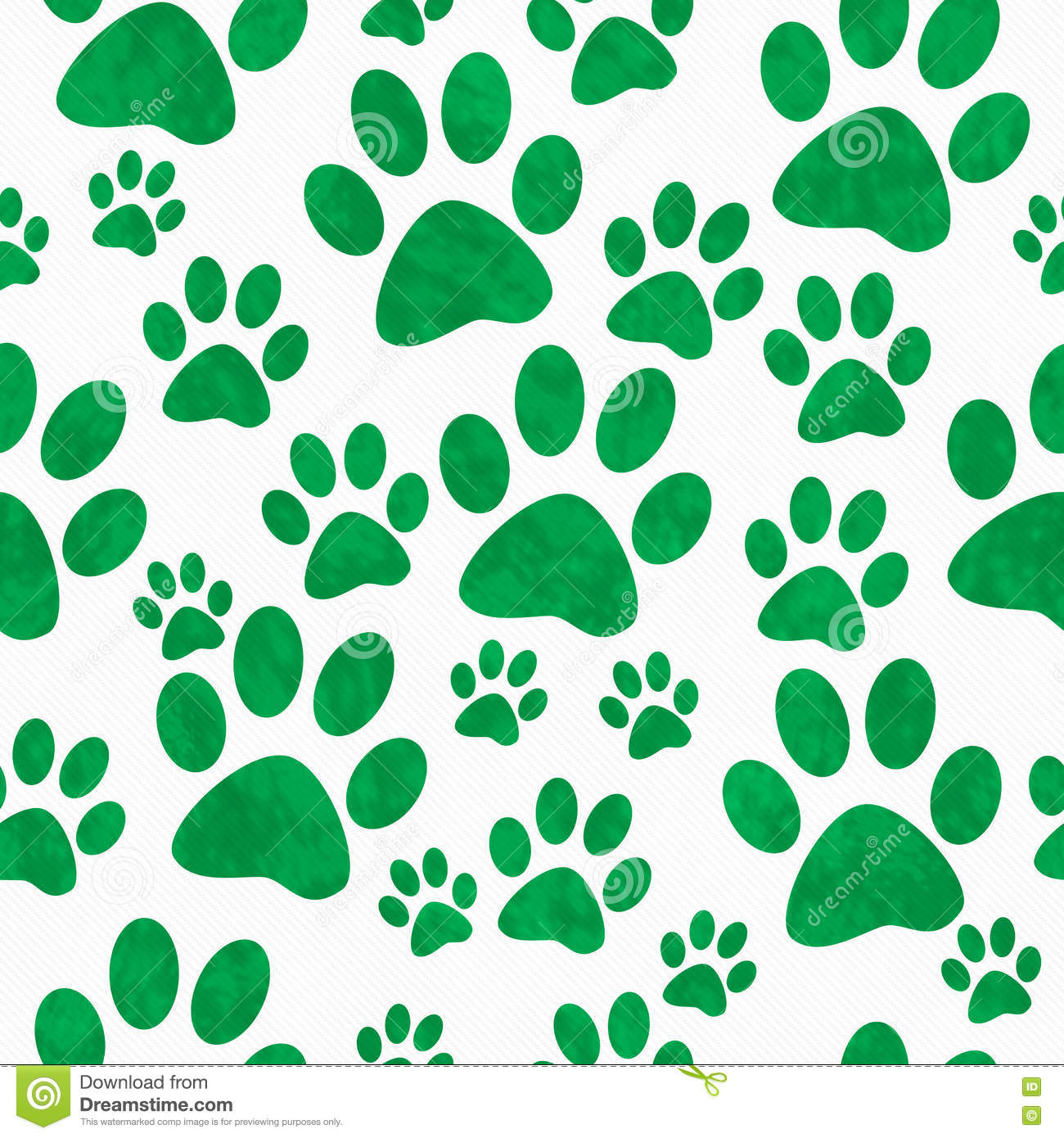 Green And White Dog Paw Prints Tile Pattern Repeat ...