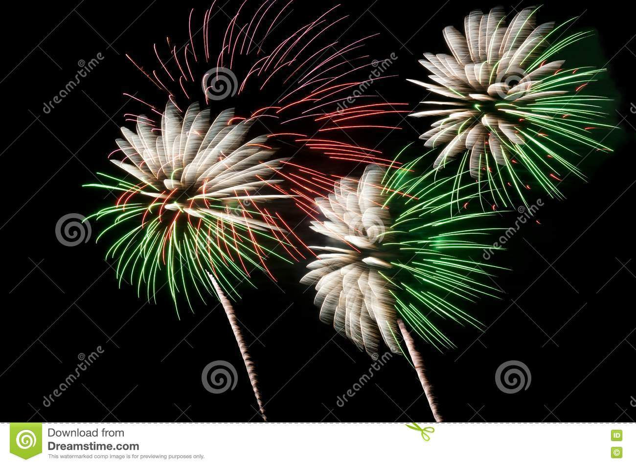 Green and white fireworks