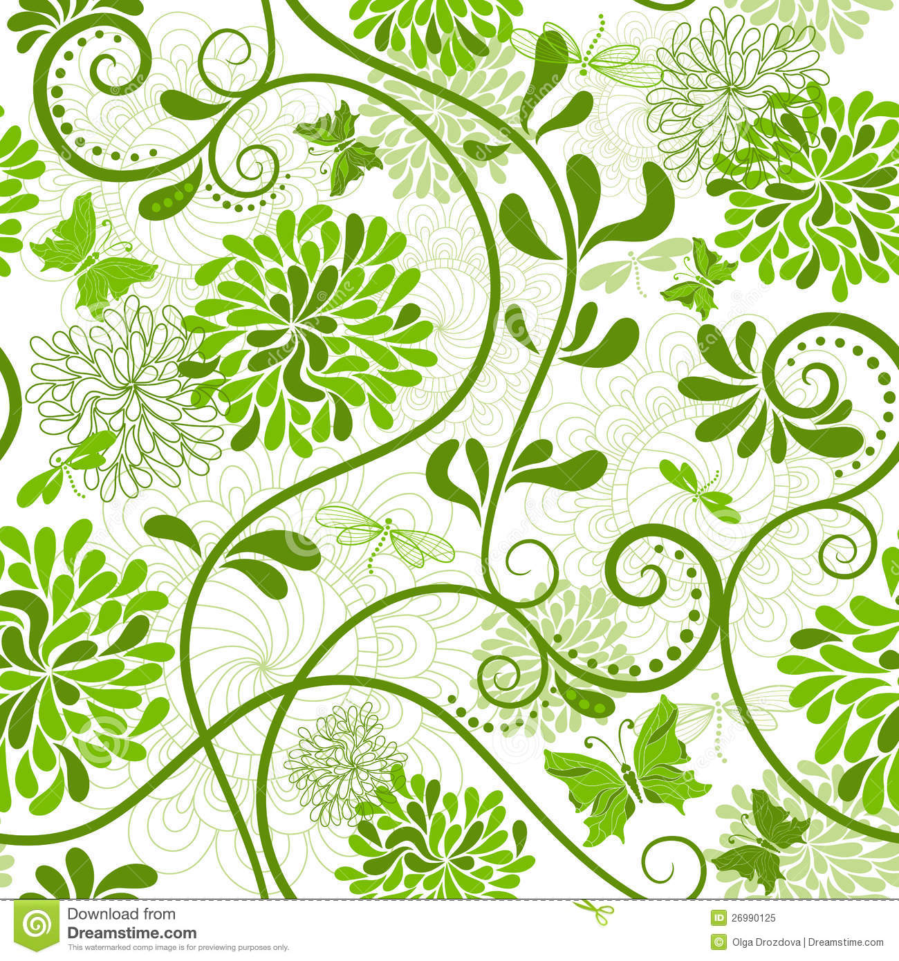 Green and white floral pattern - photo#2