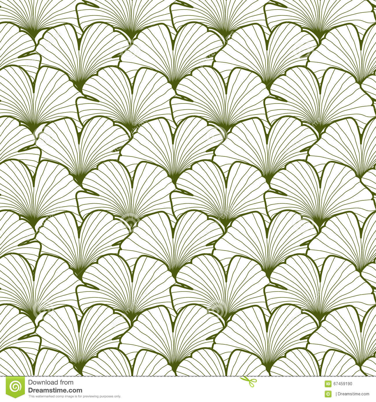 Fabric tree pattern - Green And White Graphic Ginkgo Leaves Seamless Pattern