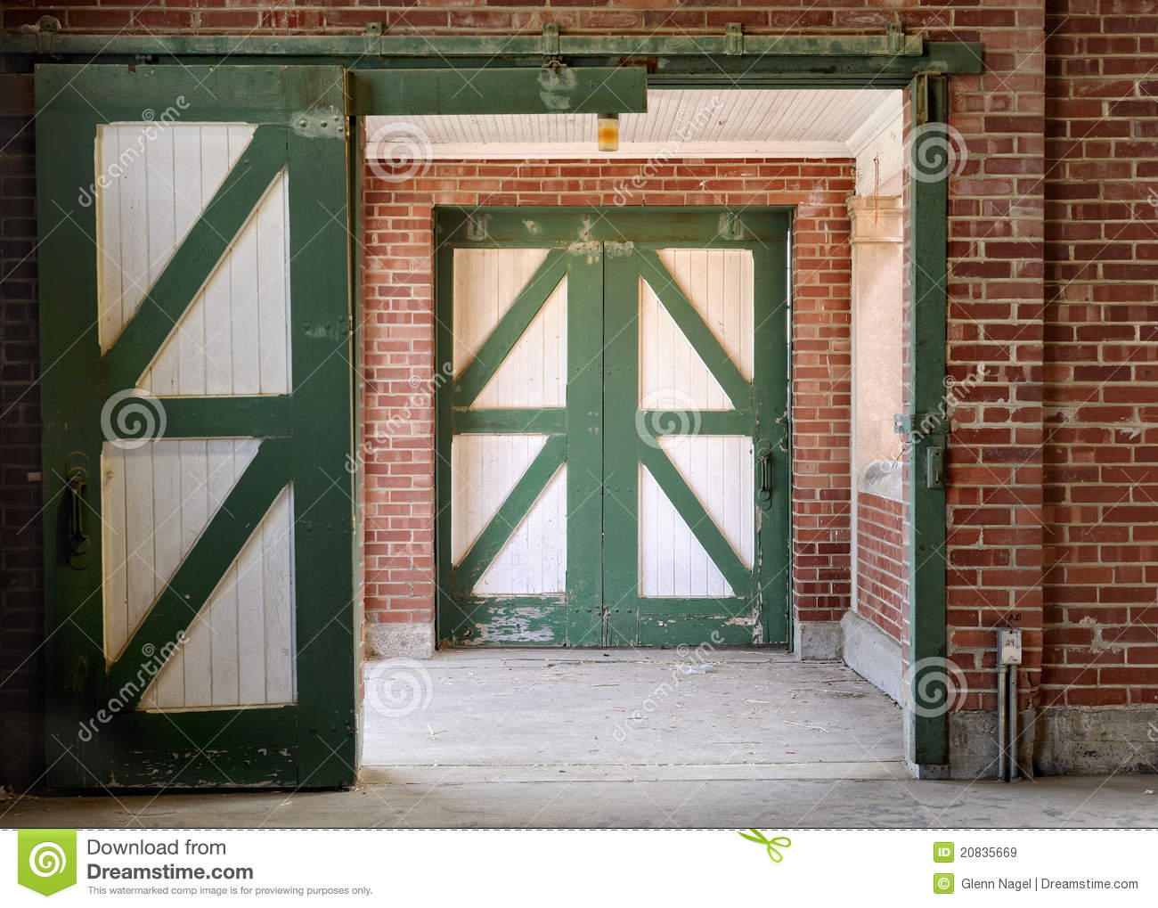 Green And White Horse Stable Doors Royalty Free Stock