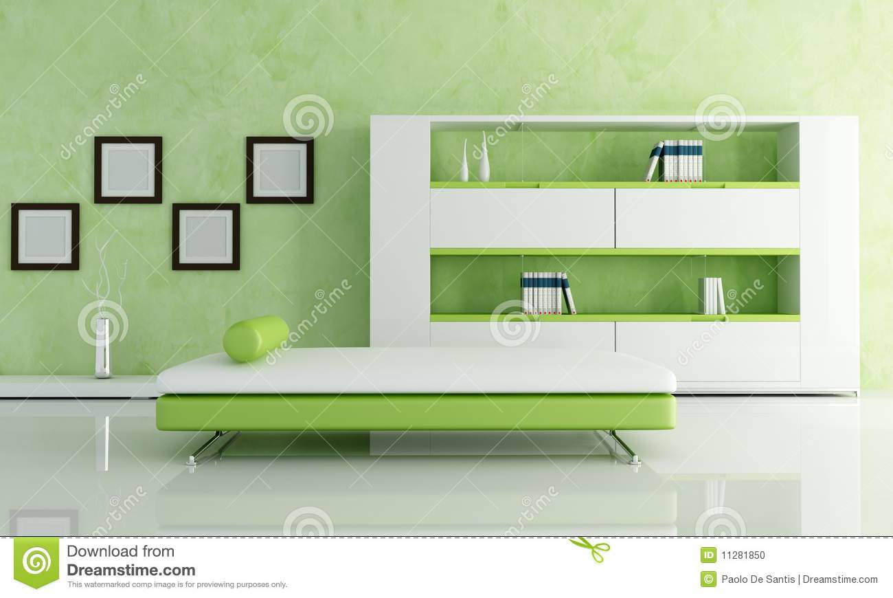 Green And White Living Room Stock Photo Image 11281850